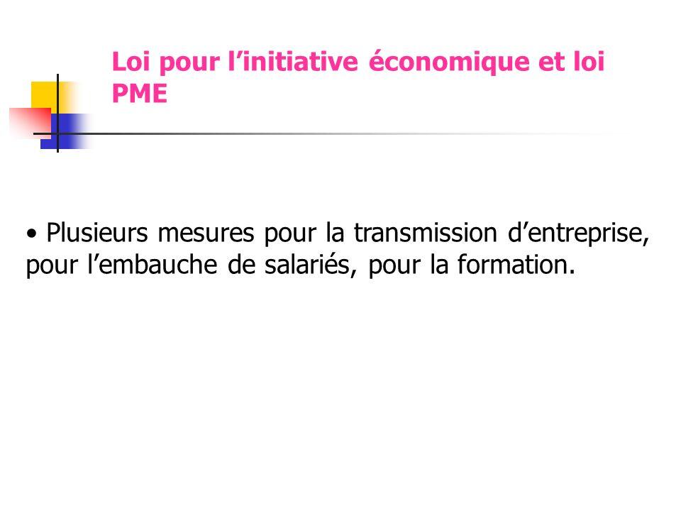 Loi pour linitiative économique et loi PME Plusieurs mesures pour la transmission dentreprise, pour lembauche de salariés, pour la formation.