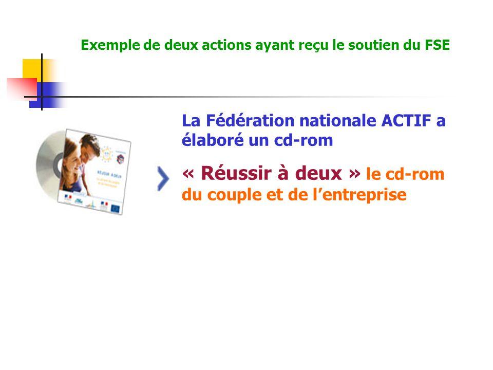 La Fédération nationale ACTIF a élaboré un cd-rom « Réussir à deux » le cd-rom du couple et de lentreprise Exemple de deux actions ayant reçu le soutien du FSE
