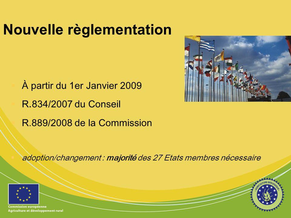 12 Nouvelle règlementation À partir du 1er Janvier 2009 R.834/2007 du Conseil R.889/2008 de la Commission adoption/changement : majorité des 27 Etats membres nécessaire