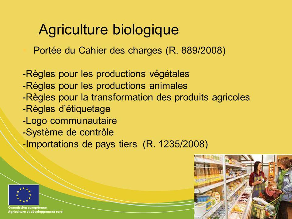 13 Agriculture biologique Portée du Cahier des charges (R. 889/2008) -Règles pour les productions végétales -Règles pour les productions animales -Règ