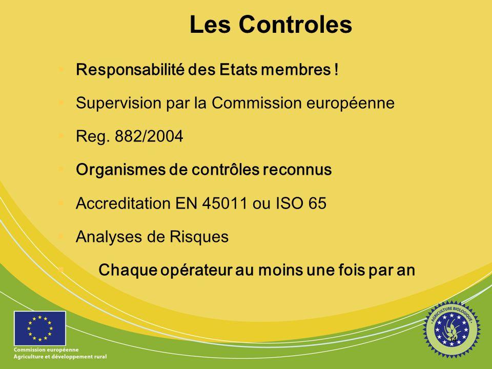 14 Les Controles Responsabilité des Etats membres ! Supervision par la Commission européenne Reg. 882/2004 Organismes de contrôles reconnus Accreditat