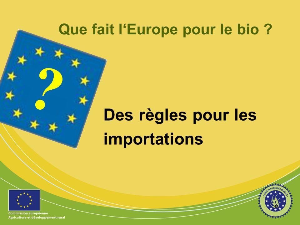 15 ? Que fait lEurope pour le bio ? Des règles pour les importations