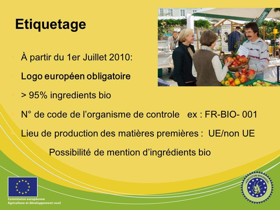 29 Etiquetage À partir du 1er Juillet 2010: Logo européen obligatoire > 95% ingredients bio N° de code de lorganisme de controle ex : FR-BIO- 001 Lieu de production des matières premières : UE/non UE Possibilité de mention dingrédients bio