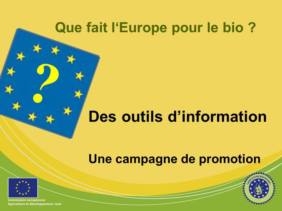 33 ? Que fait lEurope pour le bio ? Des outils dinformation Une campagne de promotion