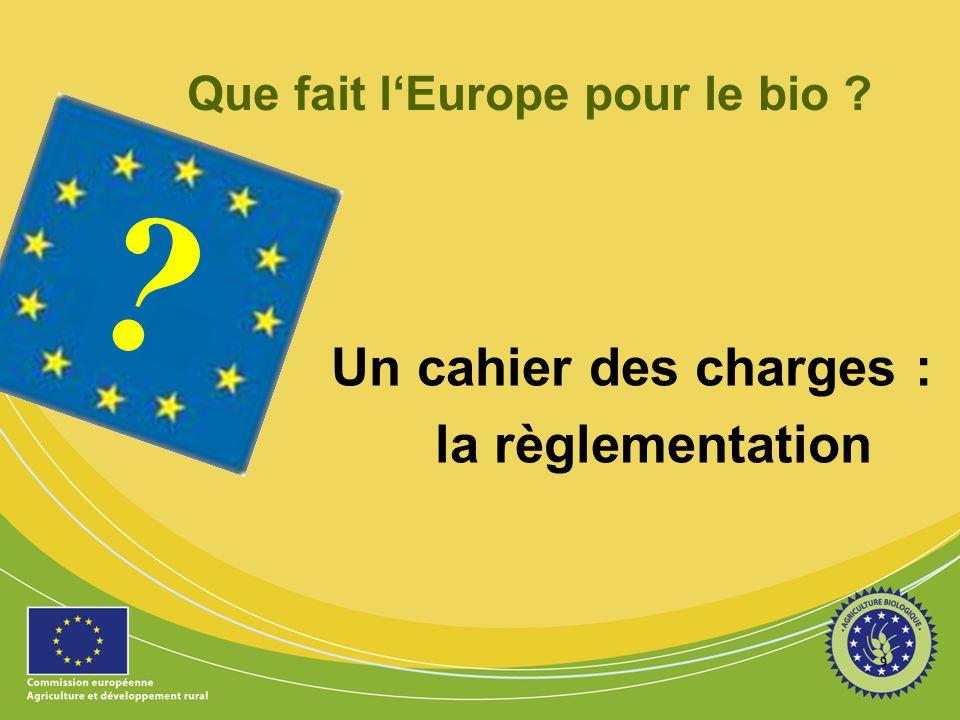 9 ? Que fait lEurope pour le bio ? Un cahier des charges : la règlementation
