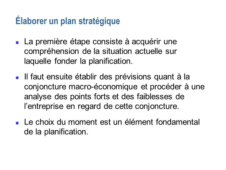 Élaborer un plan stratégique n La première étape consiste à acquérir une compréhension de la situation actuelle sur laquelle fonder la planification.