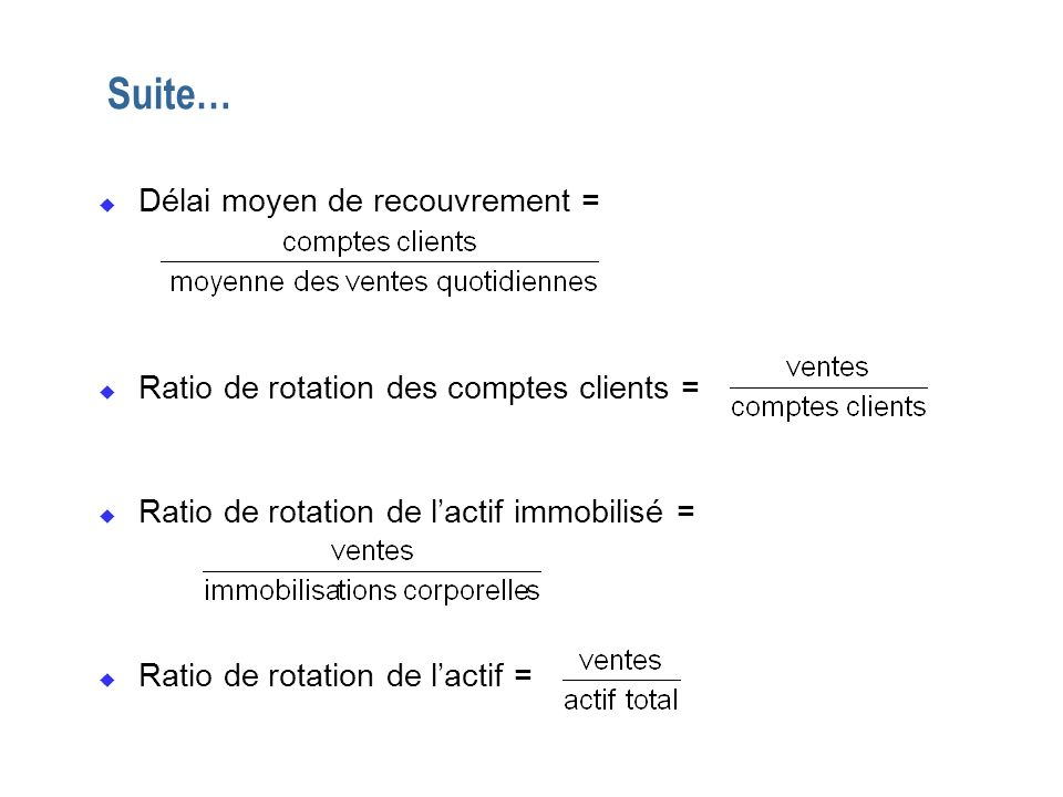 Suite… u Délai moyen de recouvrement = u Ratio de rotation des comptes clients = u Ratio de rotation de lactif immobilisé = u Ratio de rotation de lac