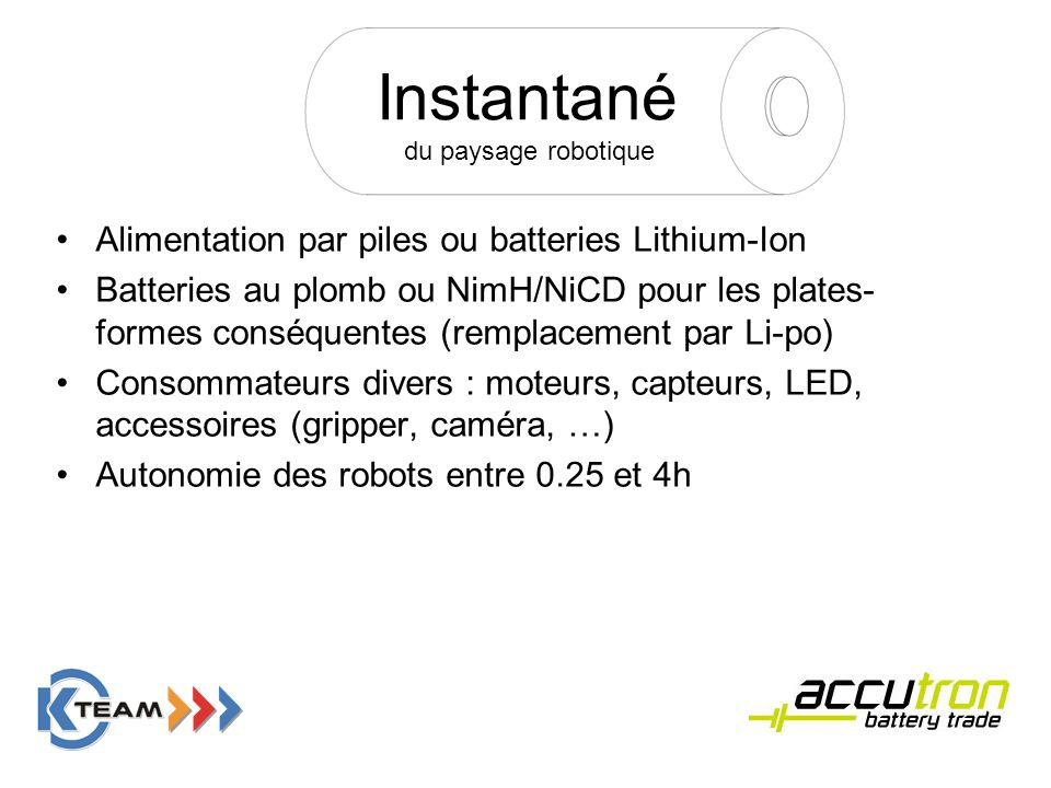 Instantané du paysage robotique Alimentation par piles ou batteries Lithium-Ion Batteries au plomb ou NimH/NiCD pour les plates- formes conséquentes (
