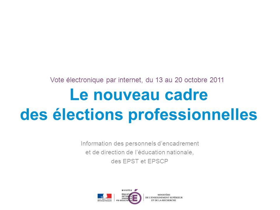 Vote électronique par internet, du 13 au 20 octobre 2011 Le nouveau cadre des élections professionnelles Information des personnels dencadrement et de direction de léducation nationale, des EPST et EPSCP