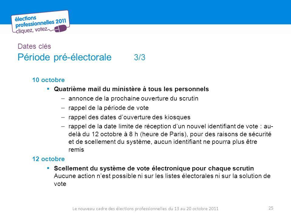 Dates clés Période pré-électorale 3/3 10 octobre Quatrième mail du ministère à tous les personnels –annonce de la prochaine ouverture du scrutin –rappel de la période de vote –rappel des dates douverture des kiosques –rappel de la date limite de réception dun nouvel identifiant de vote : au- delà du 12 octobre à 8 h (heure de Paris), pour des raisons de sécurité et de scellement du système, aucun identifiant ne pourra plus être remis 12 octobre Scellement du système de vote électronique pour chaque scrutin Aucune action nest possible ni sur les listes électorales ni sur la solution de vote Le nouveau cadre des élections professionnelles du 13 au 20 octobre 2011 25