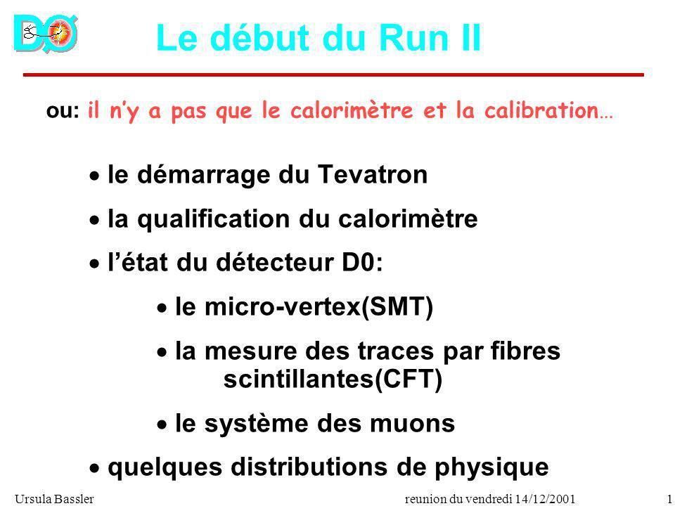 Ursula Bassler1reunion du vendredi 14/12/2001 ou: il ny a pas que le calorimètre et la calibration… Le début du Run II le démarrage du Tevatron la qua