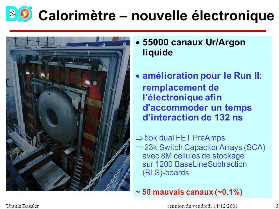 Ursula Bassler6reunion du vendredi 14/12/2001 Calorimètre – nouvelle électronique 55000 canaux Ur/Argon liquide amélioration pour le Run II: remplacem