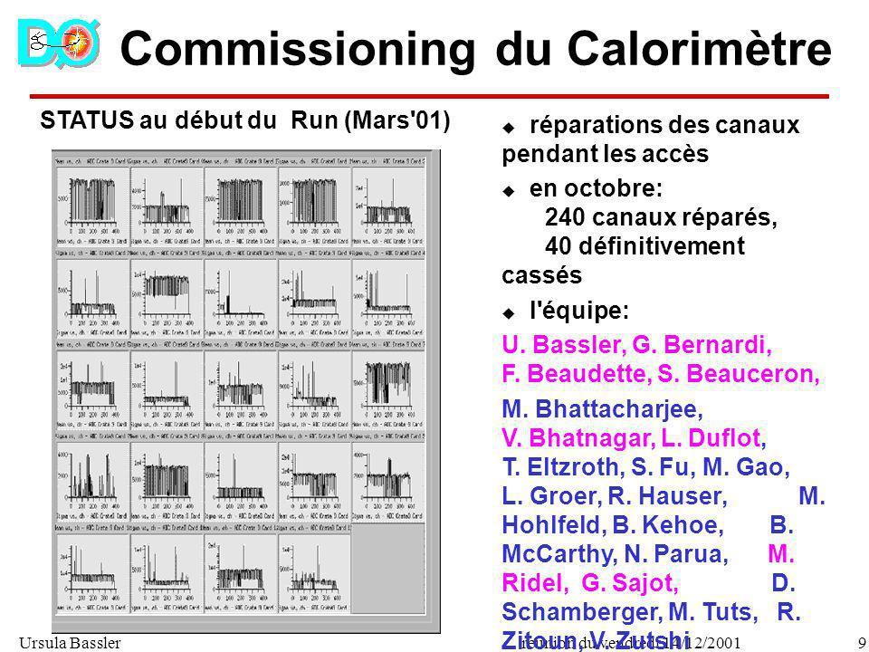 Ursula Bassler9reunion du vendredi 14/12/2001 Commissioning du Calorimètre réparations des canaux pendant les accès en octobre: 240 canaux réparés, 40