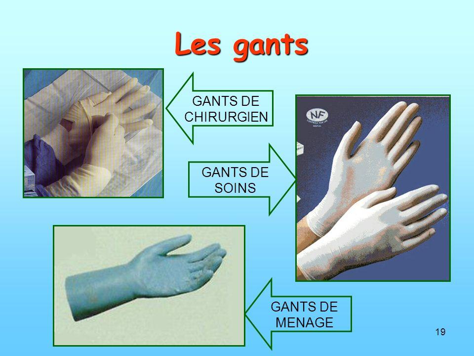 19 Les gants GANTS DE CHIRURGIEN GANTS DE SOINS GANTS DE MENAGE