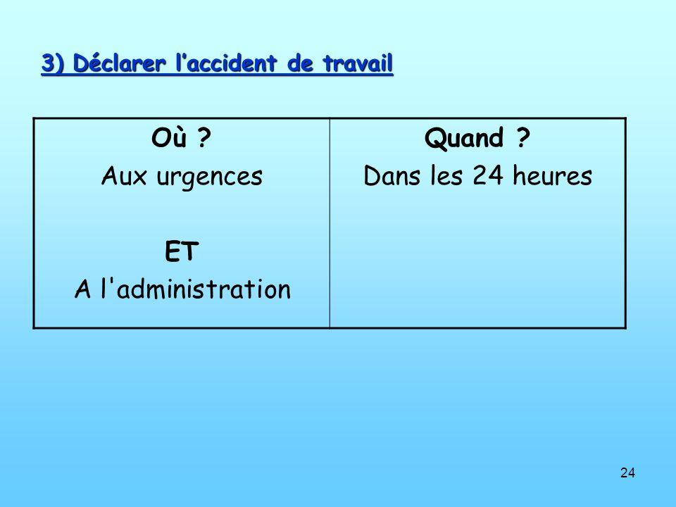 24 3) Déclarer laccident de travail Où ? Aux urgences ET A l'administration Quand ? Dans les 24 heures