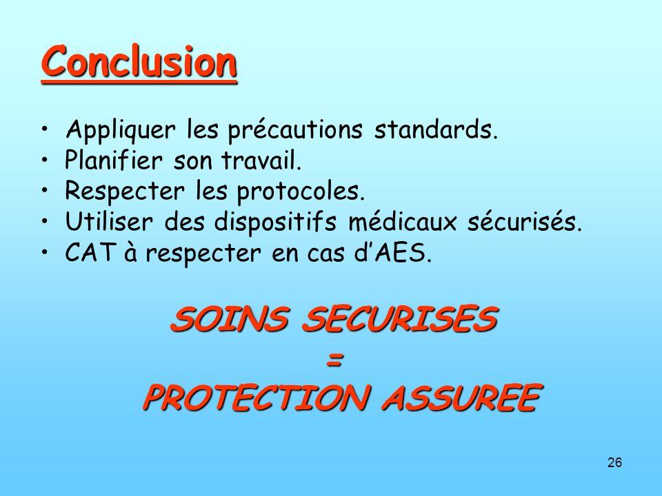 26 Conclusion Appliquer les précautions standards. Planifier son travail. Respecter les protocoles. Utiliser des dispositifs médicaux sécurisés. CAT à