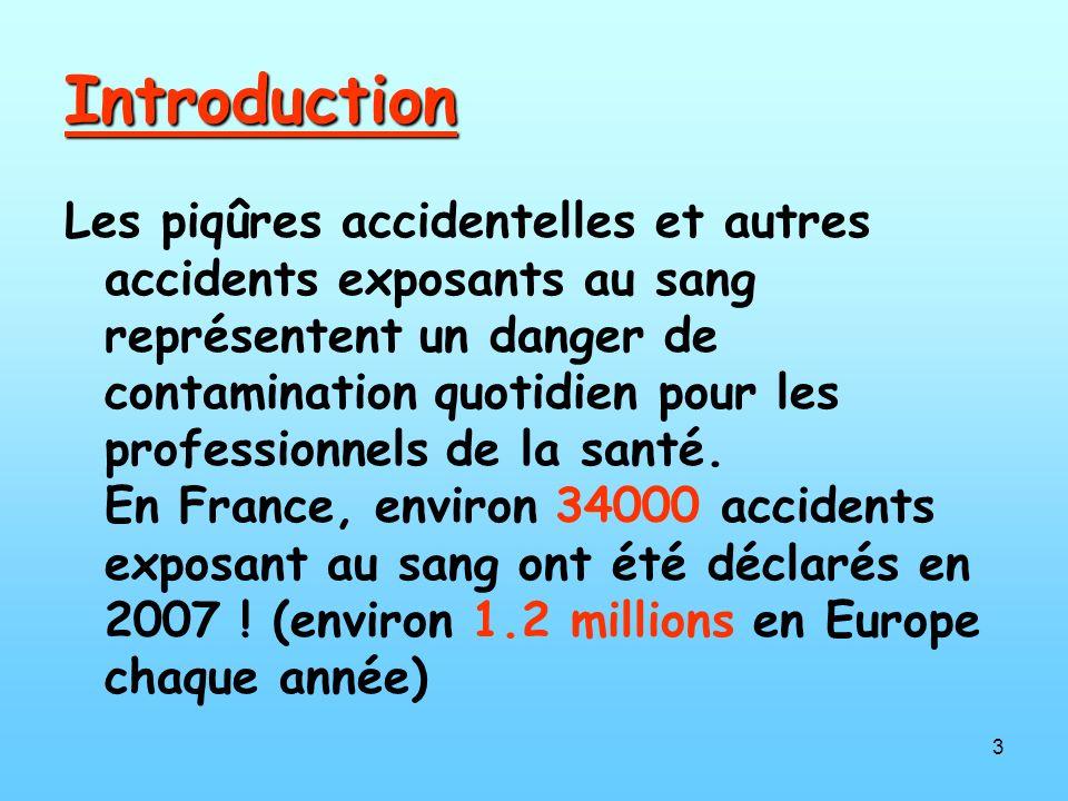 3 Introduction Les piqûres accidentelles et autres accidents exposants au sang représentent un danger de contamination quotidien pour les professionnels de la santé.