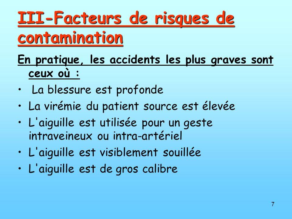 7 III-Facteurs de risques de contamination En pratique, les accidents les plus graves sont ceux où : La blessure est profonde La virémie du patient source est élevée L aiguille est utilisée pour un geste intraveineux ou intra-artériel L aiguille est visiblement souillée L aiguille est de gros calibre