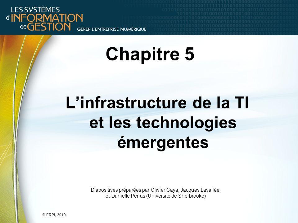 Chapitre 5 Linfrastructure de la TI et les technologies émergentes © ERPI, 2010. Diapositives préparées par Olivier Caya, Jacques Lavallée et Danielle