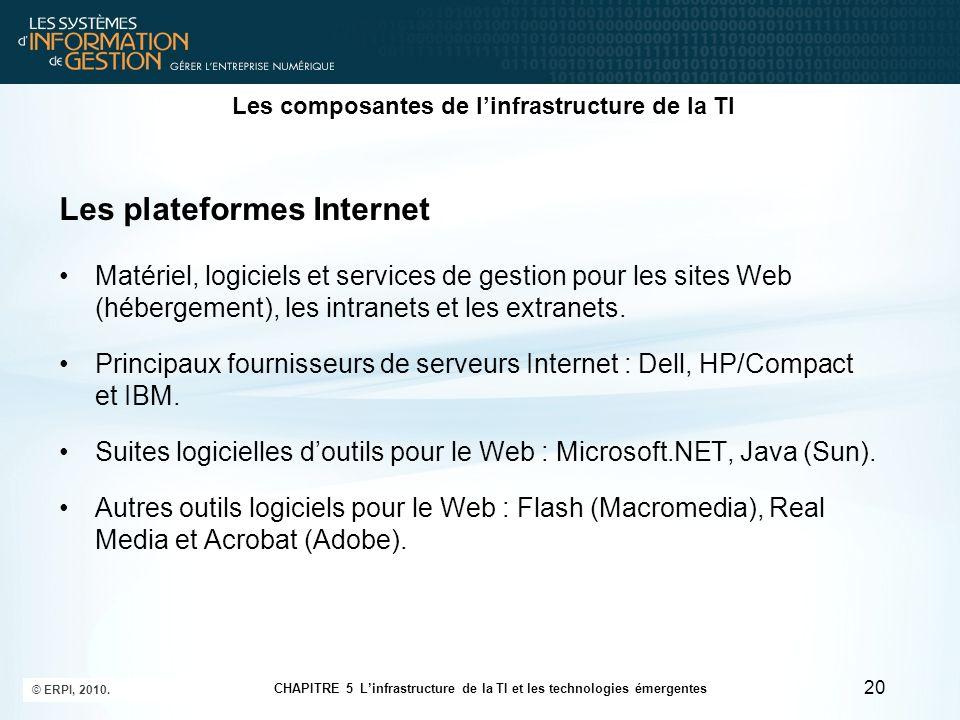 Les composantes de linfrastructure de la TI Les plateformes Internet Matériel, logiciels et services de gestion pour les sites Web (hébergement), les