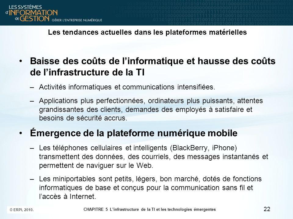 Les tendances actuelles dans les plateformes matérielles Baisse des coûts de linformatique et hausse des coûts de linfrastructure de la TI –Activités