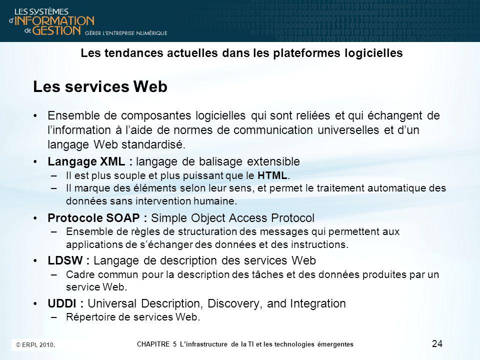Les tendances actuelles dans les plateformes logicielles Les services Web Ensemble de composantes logicielles qui sont reliées et qui échangent de lin