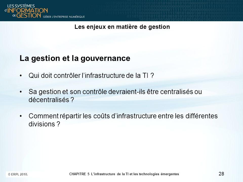 Les enjeux en matière de gestion La gestion et la gouvernance Qui doit contrôler linfrastructure de la TI ? Sa gestion et son contrôle devraient-ils ê