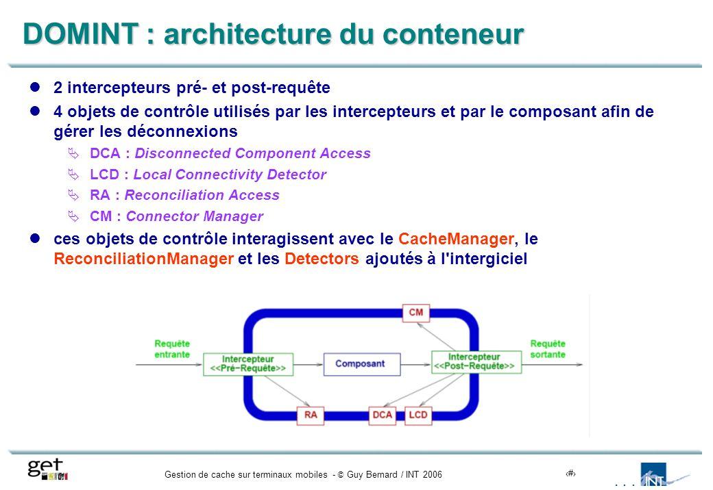 Gestion de cache sur terminaux mobiles - © Guy Bernard / INT 200612 DOMINT : architecture du conteneur 2 intercepteurs pré- et post-requête 4 objets d