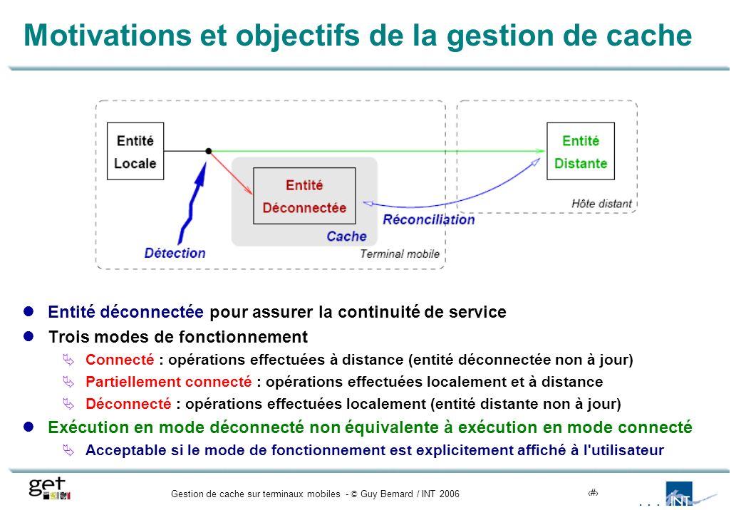 Gestion de cache sur terminaux mobiles - © Guy Bernard / INT 20064 Motivations et objectifs de la gestion de cache Entité déconnectée pour assurer la