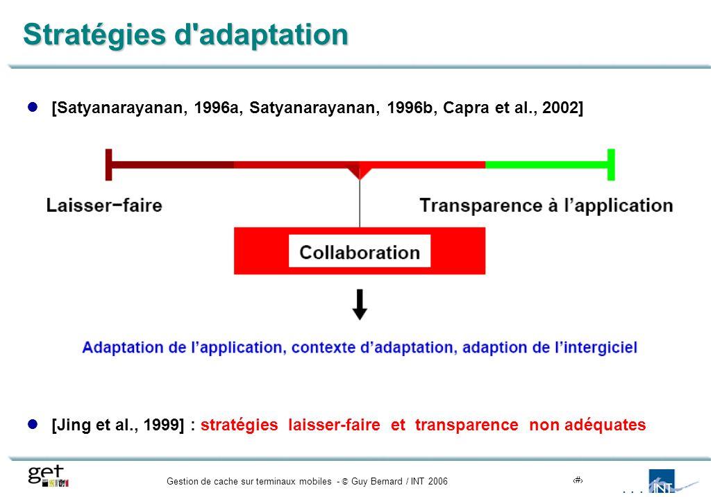Gestion de cache sur terminaux mobiles - © Guy Bernard / INT 20066 Stratégies d adaptation [Satyanarayanan, 1996a, Satyanarayanan, 1996b, Capra et al., 2002] [Jing et al., 1999] : stratégies laisser-faire et transparence non adéquates