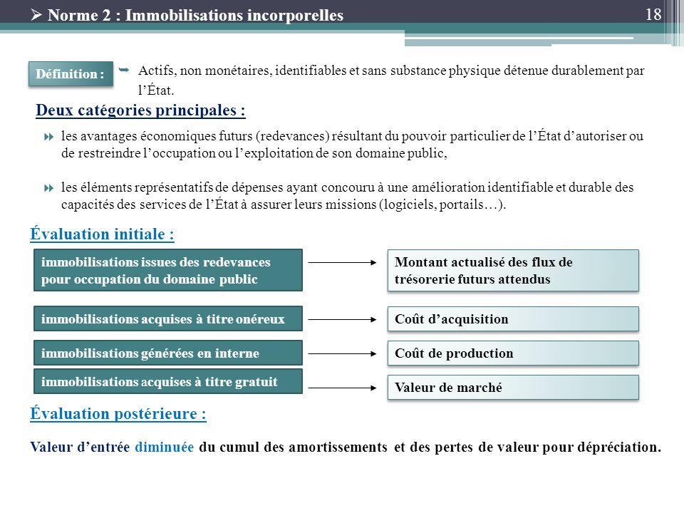 18 Norme 2 : Immobilisations incorporelles Actifs, non monétaires, identifiables et sans substance physique détenue durablement par lÉtat. Définition