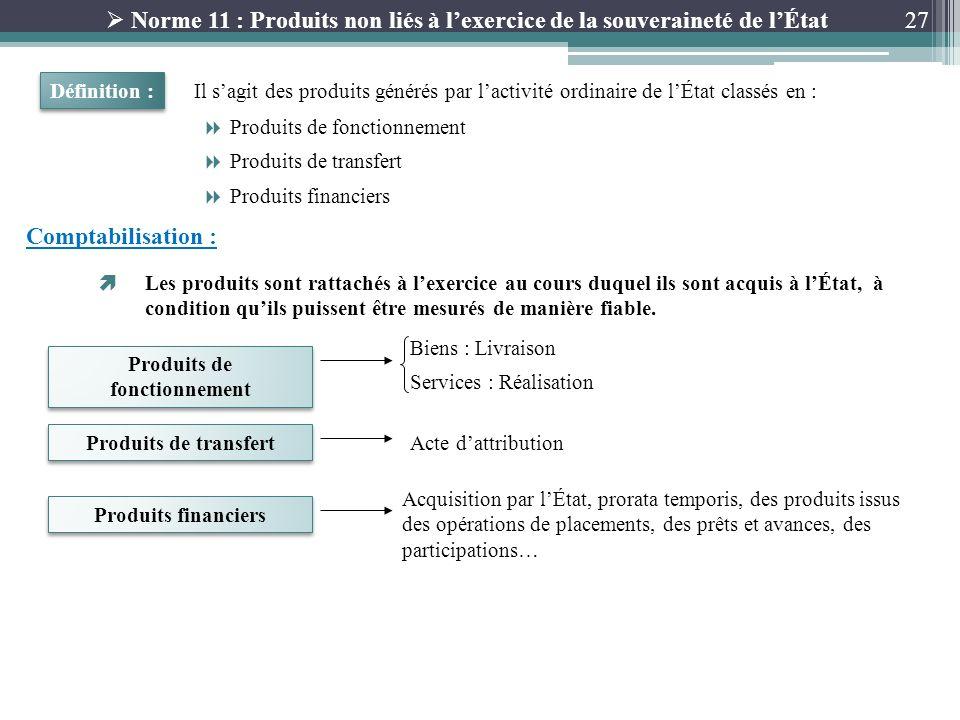 27 Norme 11 : Produits non liés à lexercice de la souveraineté de lÉtat Il sagit des produits générés par lactivité ordinaire de lÉtat classés en : Dé