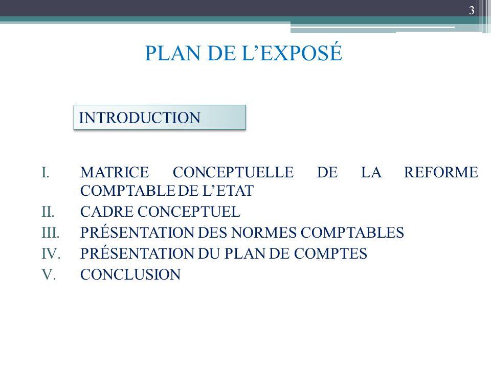 I.MATRICE CONCEPTUELLE DE LA REFORME COMPTABLE DE LETAT II.CADRE CONCEPTUEL III.PRÉSENTATION DES NORMES COMPTABLES IV.PRÉSENTATION DU PLAN DE COMPTES