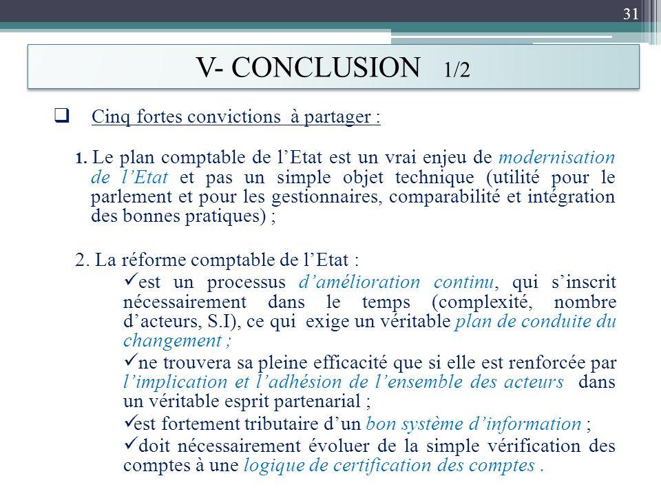 V- CONCLUSION 1/2 Cinq fortes convictions à partager : 1. Le plan comptable de lEtat est un vrai enjeu de modernisation de lEtat et pas un simple obje