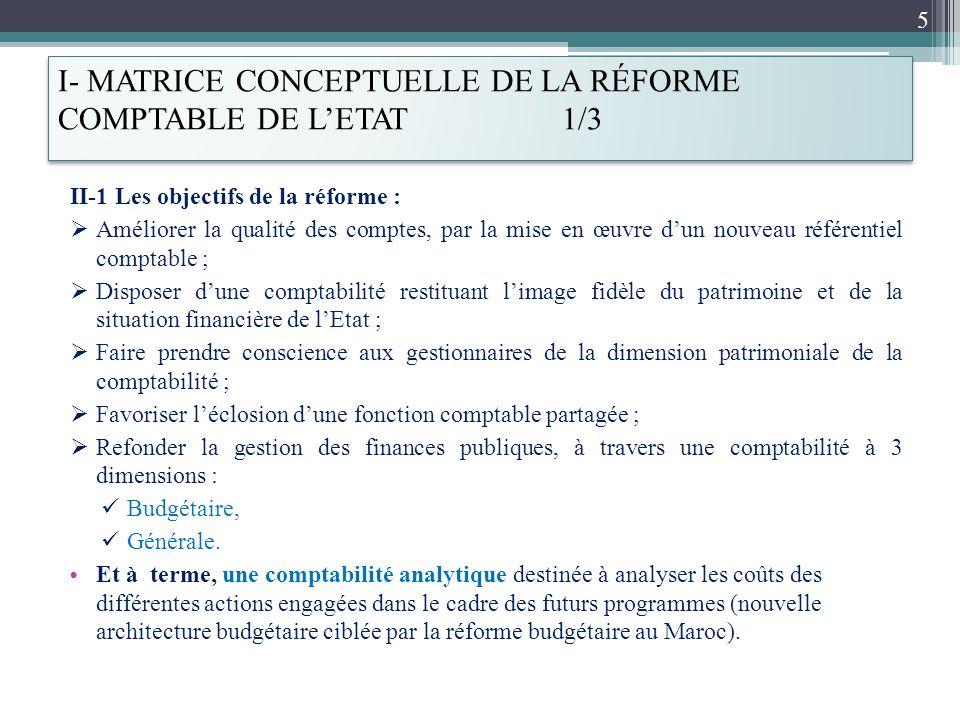 I- MATRICE CONCEPTUELLE DE LA RÉFORME COMPTABLE DE LETAT 1/3 II-1 Les objectifs de la réforme : Améliorer la qualité des comptes, par la mise en œuvre