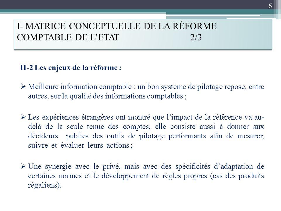 I- MATRICE CONCEPTUELLE DE LA RÉFORME COMPTABLE DE LETAT 2/3 II-2 Les enjeux de la réforme : Meilleure information comptable : un bon système de pilot