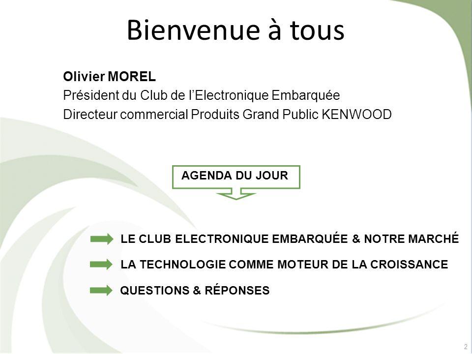 2 Bienvenue à tous Olivier MOREL Président du Club de lElectronique Embarquée Directeur commercial Produits Grand Public KENWOOD LE CLUB ELECTRONIQUE
