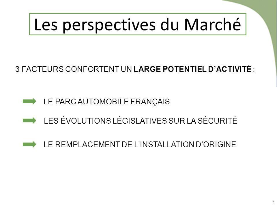 6 Les perspectives du Marché 3 FACTEURS CONFORTENT UN LARGE POTENTIEL DACTIVITÉ : LE PARC AUTOMOBILE FRANÇAIS LES ÉVOLUTIONS LÉGISLATIVES SUR LA SÉCUR