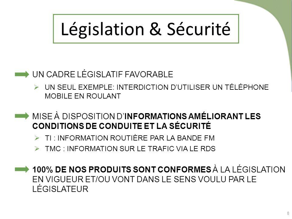 8 Législation & Sécurité TI : INFORMATION ROUTIÈRE PAR LA BANDE FM TMC : INFORMATION SUR LE TRAFIC VIA LE RDS UN CADRE LÉGISLATIF FAVORABLE MISE À DIS