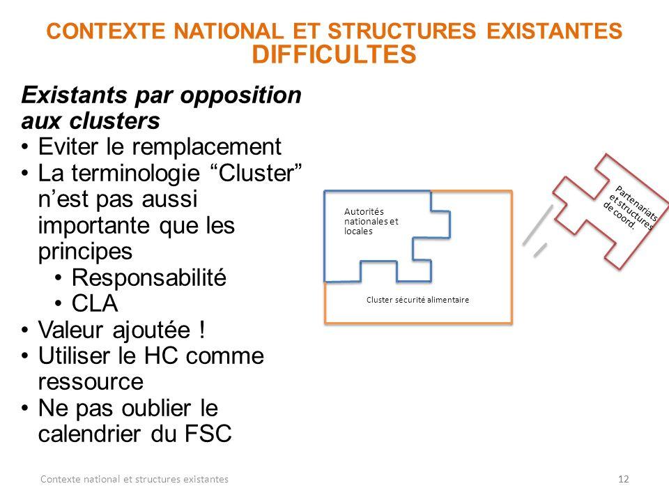 12 CONTEXTE NATIONAL ET STRUCTURES EXISTANTES DIFFICULTES 12Contexte national et structures existantes Autorités nationales et locales Cluster sécurit