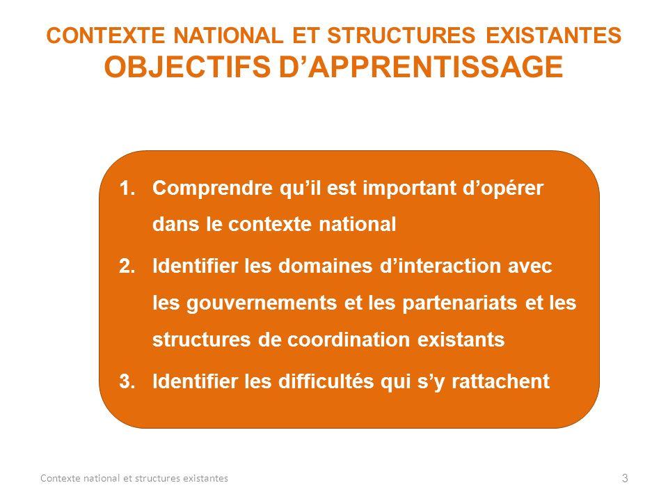 1.Comprendre quil est important dopérer dans le contexte national 2.Identifier les domaines dinteraction avec les gouvernements et les partenariats et