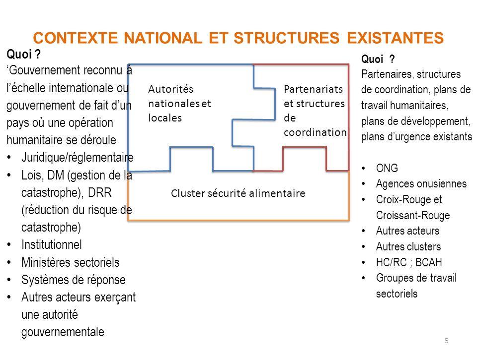 5 CONTEXTE NATIONAL ET STRUCTURES EXISTANTES Autorités nationales et locales Partenariats et structures de coordination Cluster sécurité alimentaire Q