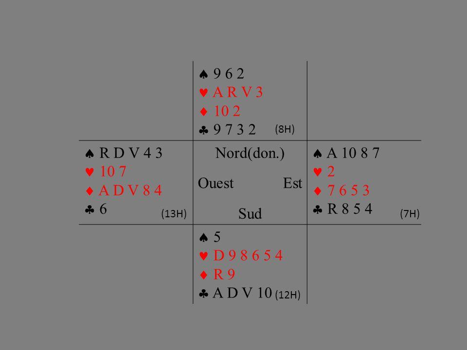 9 6 2 A R V 3 10 2 9 7 3 2 R D V 4 3 10 7 A D V 8 4 6 Nord(don.) OuestEst Sud A 10 8 7 2 7 6 5 3 R 8 5 4 5 D 9 8 6 5 4 R 9 A D V 10 (8H) (12H) (13H)(7H)