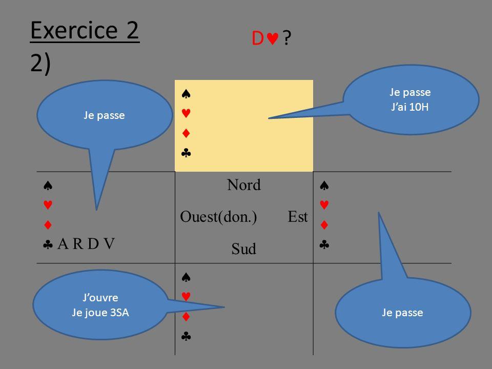 Exercice 2 2) A R D V Nord Ouest(don.)Est Sud Jouvre Je joue 3SA Je passe Jai 10H Je passe D