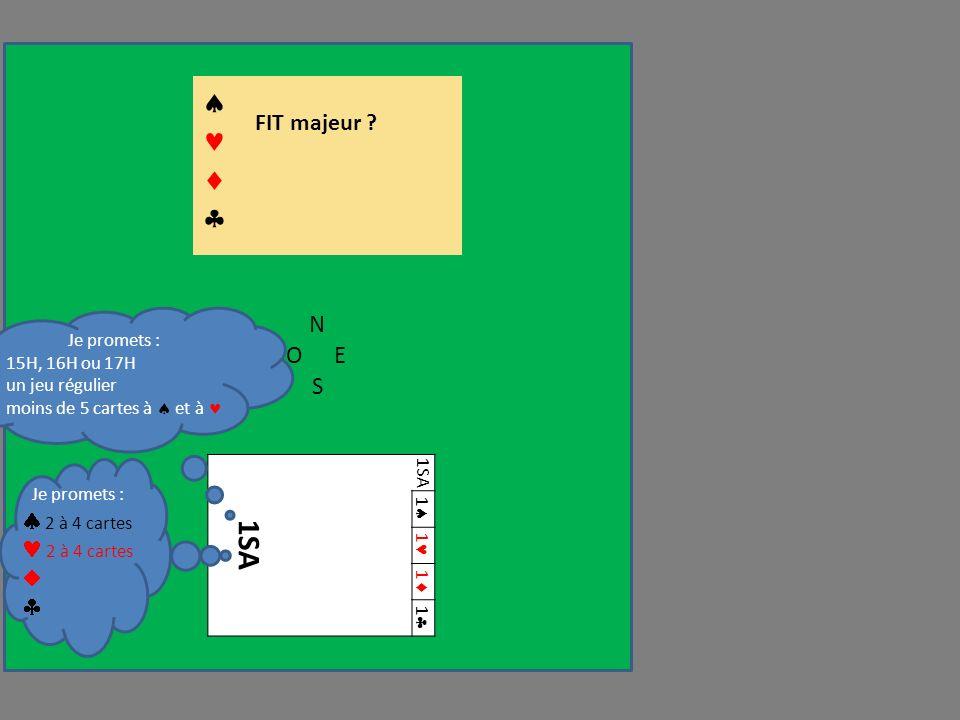 N OE S 1SA 1 1 1 1 Je promets : 15H, 16H ou 17H un jeu régulier moins de 5 cartes à et à FIT majeur .
