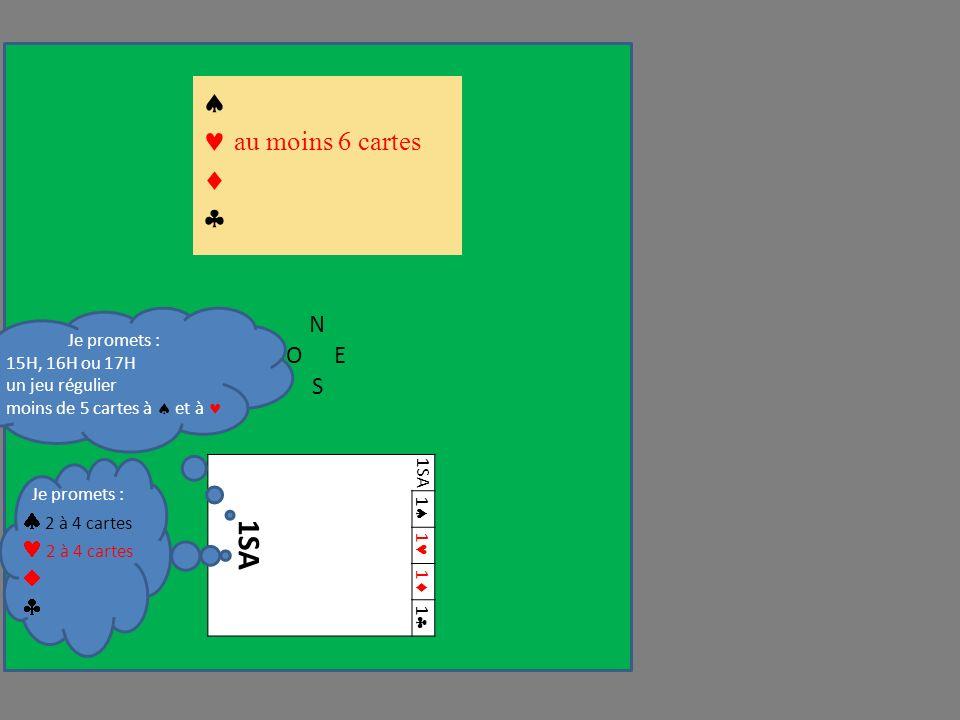 N OE S 1SA 1 1 1 1 au moins 6 cartes Je promets : 15H, 16H ou 17H un jeu régulier moins de 5 cartes à et à Je promets : 2 à 4 cartes