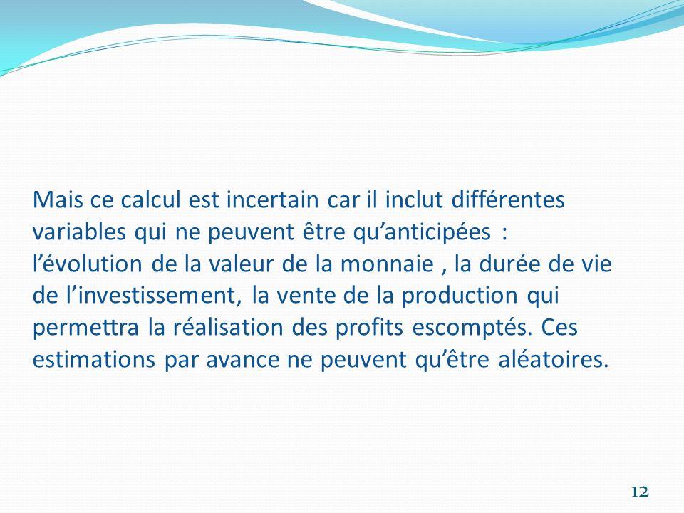 Mais ce calcul est incertain car il inclut différentes variables qui ne peuvent être quanticipées : lévolution de la valeur de la monnaie, la durée de