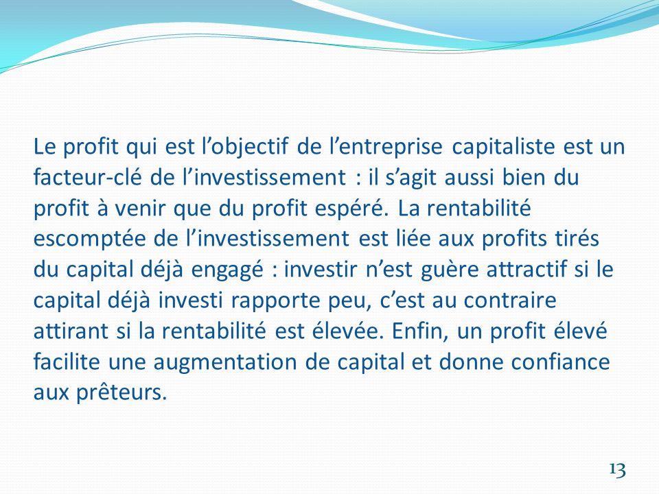 Le profit qui est lobjectif de lentreprise capitaliste est un facteur-clé de linvestissement : il sagit aussi bien du profit à venir que du profit esp