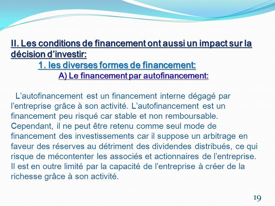 II. Les conditions de financement ont aussi un impact sur la décision dinvestir: 1. les diverses formes de financement: A) Le financement par autofina