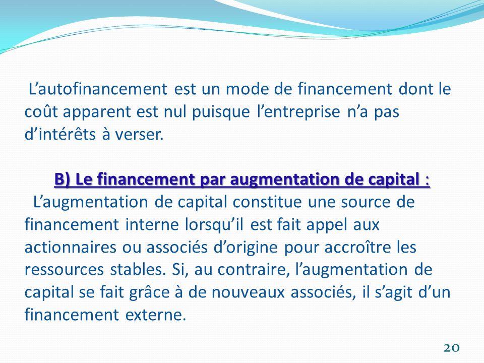 B) Le financement par augmentation de capital : Lautofinancement est un mode de financement dont le coût apparent est nul puisque lentreprise na pas d
